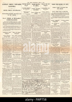 1941 page 4 The Times German Army advances on Salonika and RAF bomb German Naval base at Kiel - Stock Photo