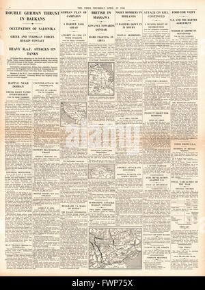 1941 page 4 The Times German Army capture Salonika and British Forces capture port of Massawa - Stock Photo