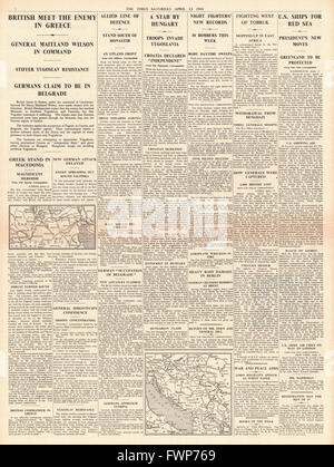 1941 page 4 The Times British Army battle German forces in Greece - Stock Photo