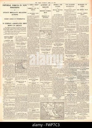 1941 page 4 The Times Imperial Forces hold German advance in Greece - Stock Photo