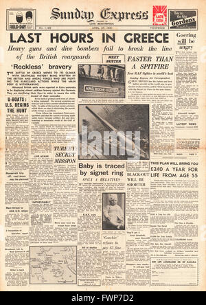 1941 Sunday Express British and Anzac Forces retreat in Greece - Stock Photo