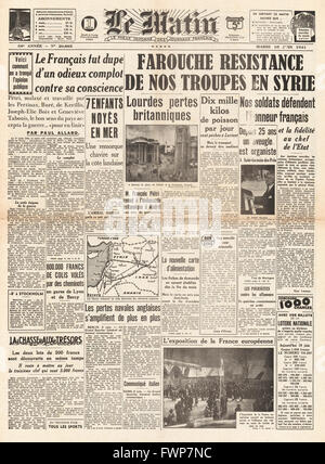 1941 front page  Le Matin Battle for Syria - Stock Photo
