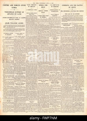1941 page 4 The Times British Forces advance on Damascus - Stock Photo