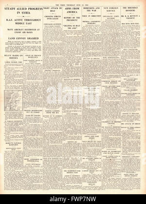 1941 front page  The Times Allies advance in Syria and U.S. aid to Britain - Stock Photo