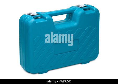 Blue toolbox isolated over white background - Stock Photo