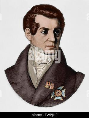 August Wilhelm von Schlegel (1767-1845). German poet, translator and critic. Portrait. Engraving. Colored. - Stock Photo