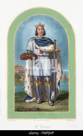 Louis IX or Saint Louis (1214-1270). King of France. Engraving, 19th century. Colored. - Stock Photo