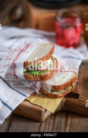 Homemade club sandwich - Stock Photo
