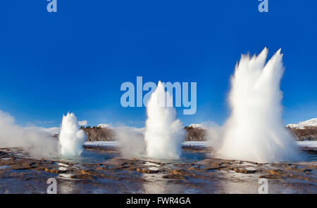 Digital composition showing eruption stages of Strokkur, fountain geyser in the geothermal area beside the Hvítá - Stock Photo