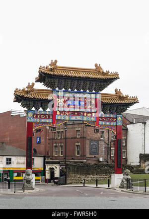 Chinese arch beside an entrance to Stowell Street in Newcastle upon Tyne which is known colloquially as China Town. - Stock Photo