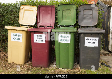 Domestic waste and recycling bins  for paper and card,  cans,  plastic and bottles, food and garden waste, and  - Stock Photo