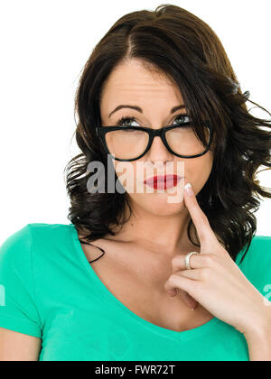 Thoughtful Young Woman Wearing Glasses Considering Her Future Isolated Against A White Background - Stock Photo