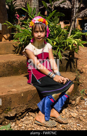 Girl from the Padaung hilltribe with neck rings, long-necked woman, Long Neck Karen, Chiang Rai Province, Northern - Stock Photo