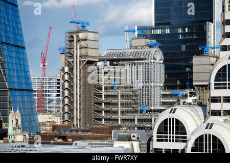 Sightseeing: iconic Lloyd's Building (or Inside-Out Building), home of Lloyd's of London, Lime Street EC3, City - Stock Photo