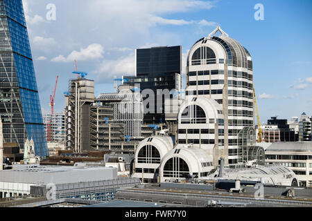 The art deco Twenty Gracechurch Street and the Lloyds Building in the insurance district of City of London EC3 on - Stock Photo