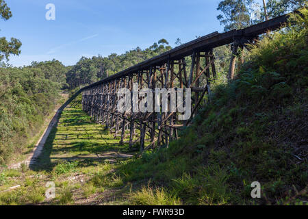 Old Wooden Railroad Trestle Bridge Over Dry Wash In