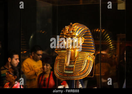 Death mask of Tutankhamen after repair the chain, Egyptian Museum Cairo Egypt - Stock Photo