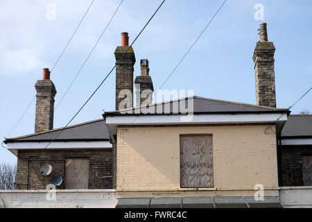 Disused railway station building, Saxmundham, Suffolk, UK. - Stock Photo