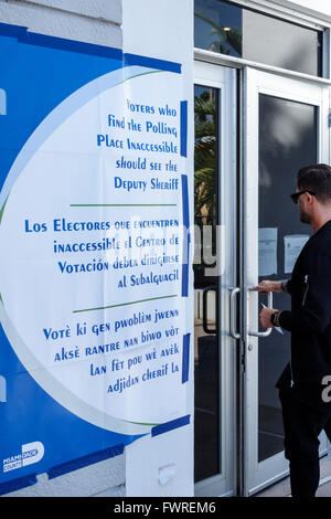 Florida FL Miami Beach primary voting vote election polling place multiple languages English Spanish Creole - Stock Photo