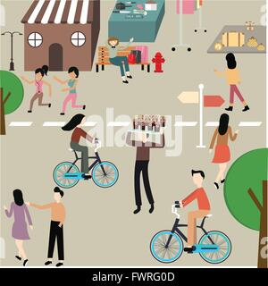 care free day illustration people man woman jogging bicycle hang around sport exercise on street - Stock Photo