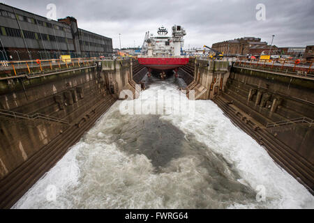 North Sea oil vessel in dry dock - Stock Photo