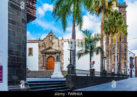 Square of Spain, in the background the Church of the Divine Savior. Santa Cruz de La Palma. La Palma. Tenerife. - Stock Photo