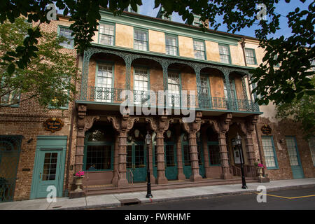 Restored Dock Street Theatre on Church Street in historic Charleston, South Carolina - Stock Photo