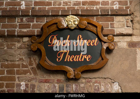 Restored Dock Street Theatre sign on Church Street in historic Charleston, South Carolina - Stock Photo