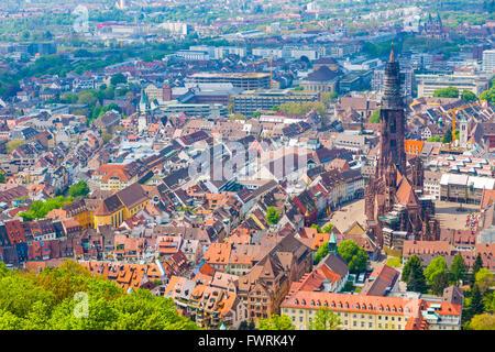 Aerial view of Freiburg im Breisgau city, Germany. Freiburg Munster and old town - Stock Photo