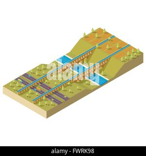 Isometric aqueduct over the river - Stock Photo