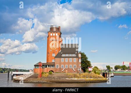 Building of Hamburg Harbour Pilots Association (German: Lotsenhaus Seemannshoft) at the entrance to the port of - Stock Photo