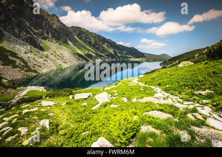 Beautiful landscape of Black Pond Gasienicowy in Tatra Mountains - Stock Photo
