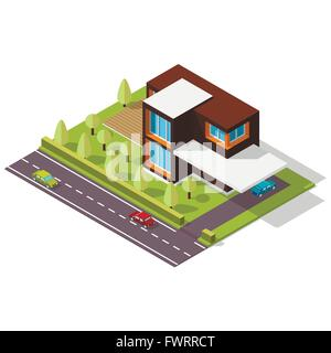 isometric house in the Scandinavian style - Stock Photo