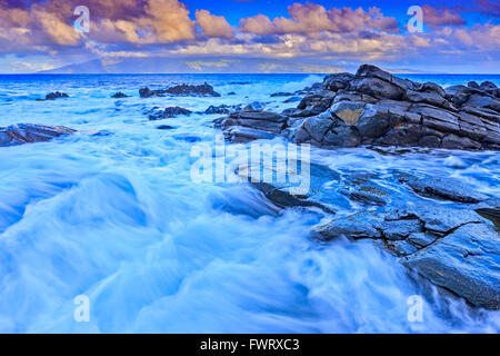 waves on beach in Maui - Stock Photo