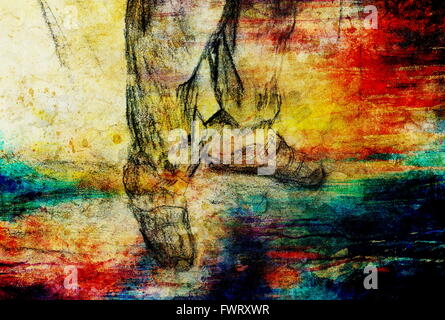 art drawing man legs and color abstract  background - Stock Photo