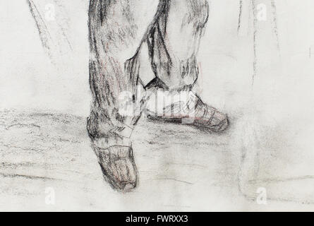 art drawing man legs and white paper background - Stock Photo