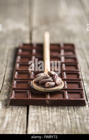 the dark chocolate and cocoa beans - Stock Photo