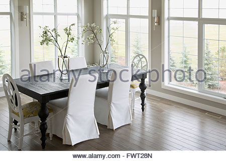 Dining room in contemporary home - Stock Photo