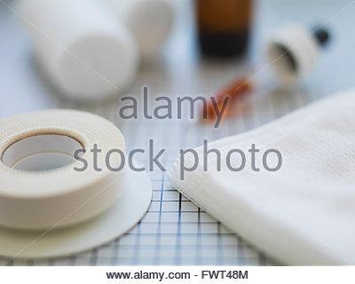 Adhesive bandages on table - Stock Photo