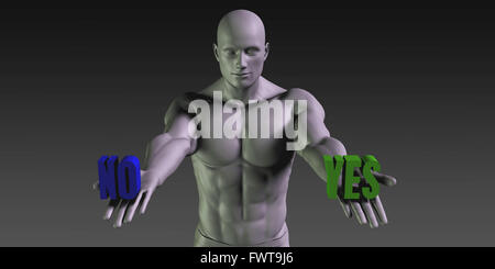 Yes vs No Concept of Choosing Between the Two Choices - Stock Photo