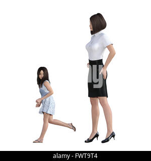 Mother Daughter Interaction of Girl in Trouble Running as an Illustration Concept - Stock Photo