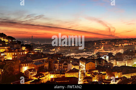 Skyline of Lisbon at beautiful twilight. Portugal - Stock Photo
