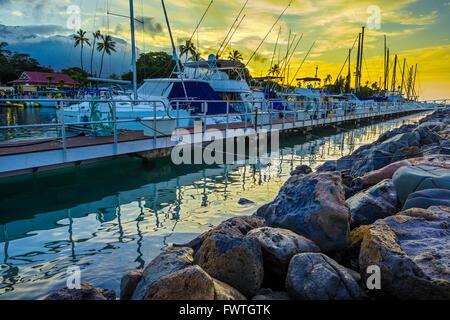 Lahaina Harbor at dawn, Maui - Stock Photo