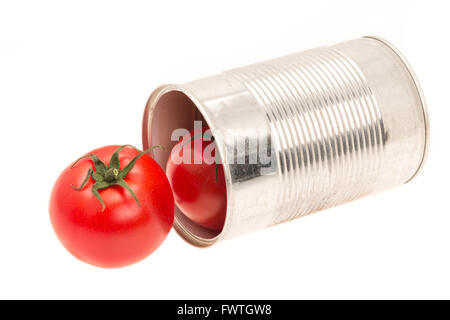 Concept idea of an open can with fresh tomatoes - studio shot with a white background - Stock Photo