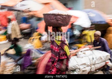 Local Market people trading Harar, Ethiopia, Africa - Stock Photo