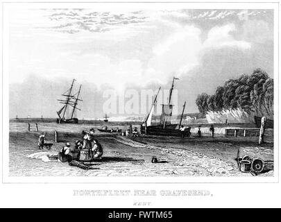 An engraving of Northfleet near Gravesend, Kent scanned at high resolution from a book printed around 1845. - Stock Photo