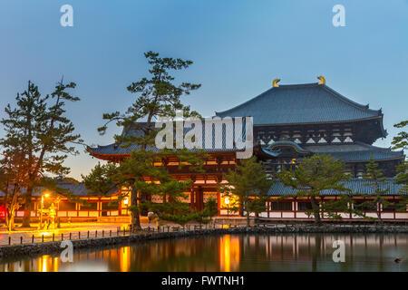 Nara, Japan at Todaiji Temple at dusk. - Stock Photo