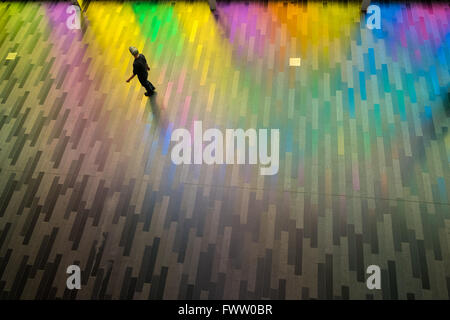 Sunlight pushing through the windows of the Palais des congres de Montréal - Stock Photo