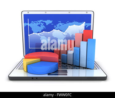 Laptop and diagram (done in 3d, white background) - Stock Photo