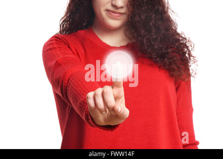 girl pushing virtual button on touch screen - Stock Photo